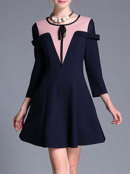 Navy Blue Long Sleeve Crew Neck Paneled Plus Size Mini Dress
