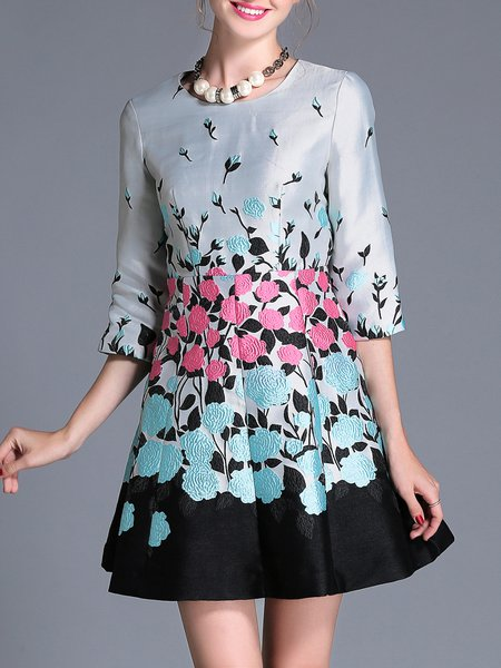 Gray Plus Size Floral Jacquard Elegant Mini Dress