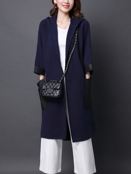 Navy Blue Long Sleeve Hoodie Coat