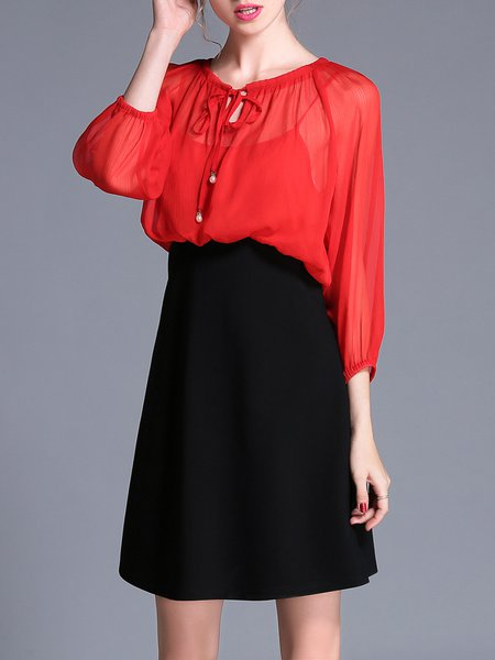 Red A-line 3/4 Sleeve Color-block Paneled Midi Dress