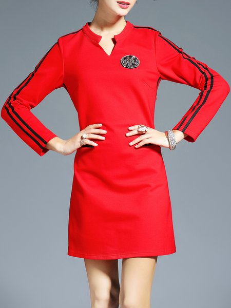 Beaded H-line Casual Long Sleeve Mini Dress