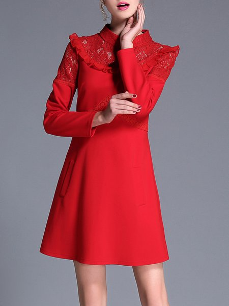 Red Elegant Paneled Stand Collar Mini Dress