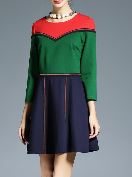 Green Elegant Paneled Color-block Mini Dress