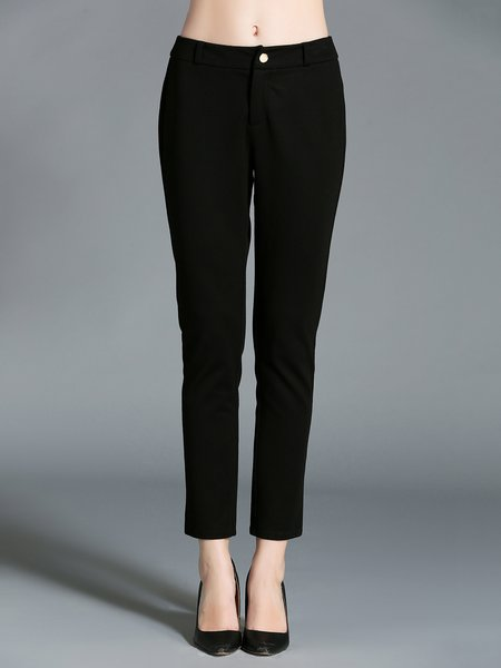 Black Plain Simple Stretchy Straight Leg Pants