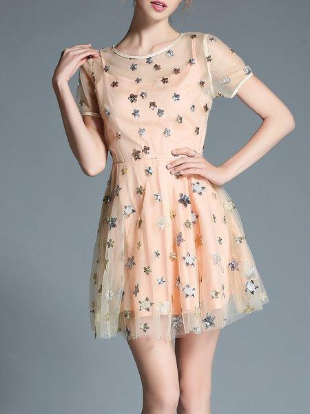 Apricot Crew Neck Sweet Glitter-finished A-line Mini Dress