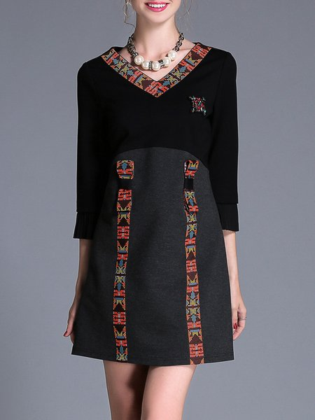 Black Casual Color-block Paneled A-line Mini Dress