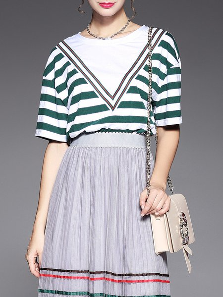 Green Casual Stripes A-line Crew Neck Top