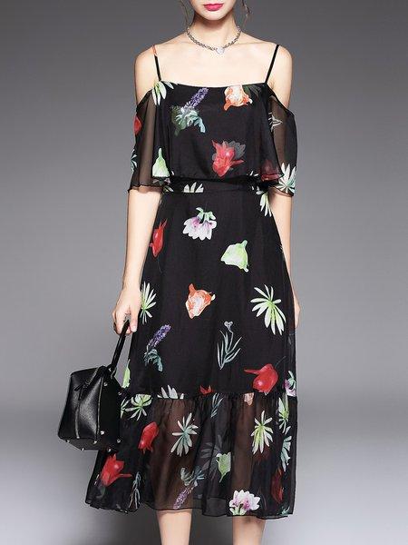Shorts Sleeve Floral Casual Midi Dress