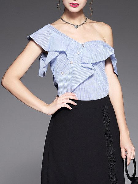 Plus Size Blue Frill Sleeve Paneled Stripes Top