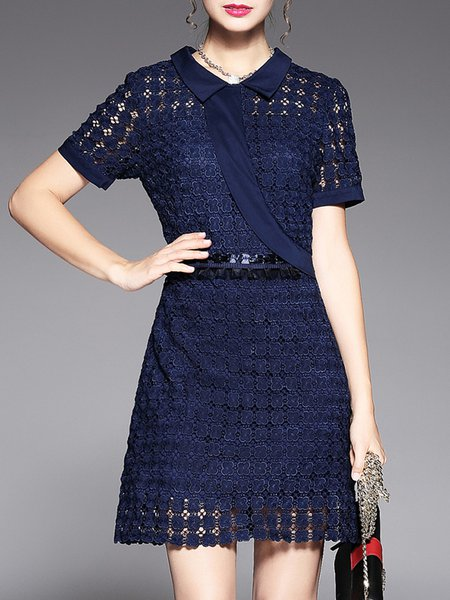 Crochet-trimmed Casual Short Sleeve Shirt Collar Mini Dress