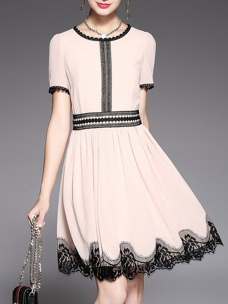 Paneled Short Sleeve Casual Midi Dress