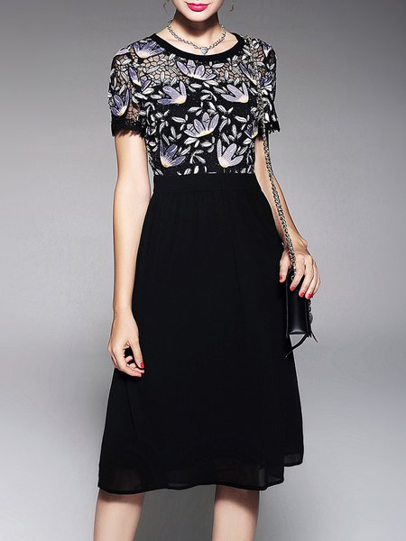 Black Embroidered Floral A-line Short Sleeve Midi Dress