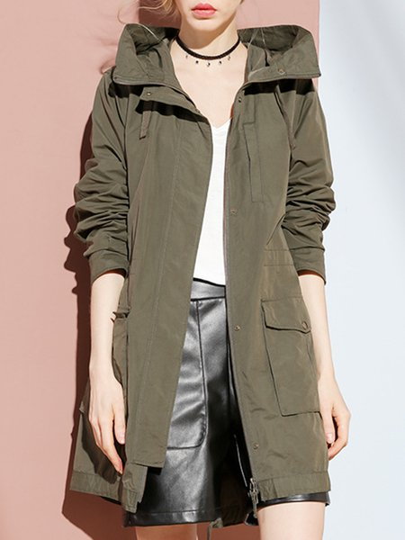 Army Green Long Sleeve Pockets H-line Cotton Coat