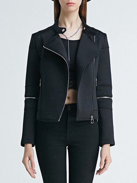 Black Casual Plain Zipper Paneled Cropped Jacket
