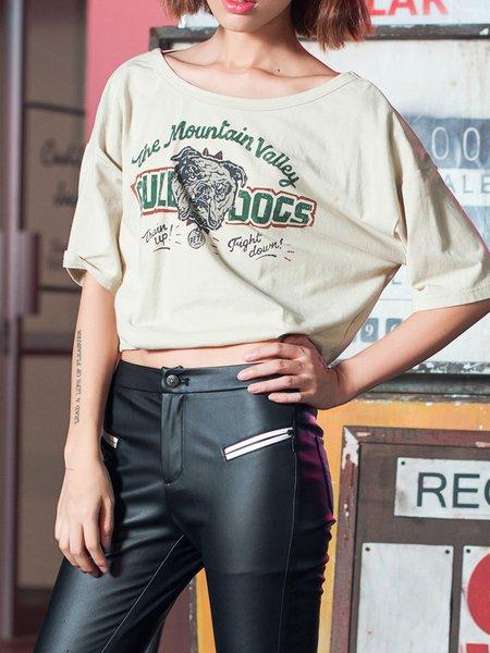 Polyester Cutout Batwing T-Shirt