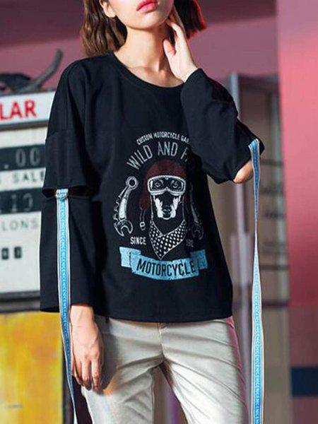H-line Long Sleeve Paneled Statement Spandex T-Shirt