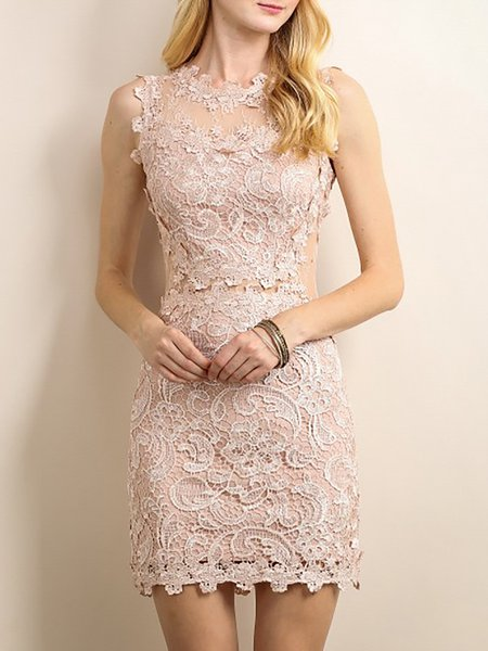 See-Through Lace Cocktail Dress