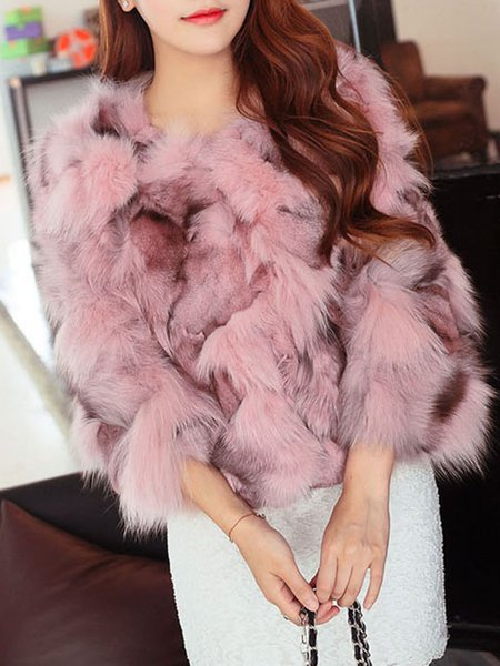 Pink Fluffy Crew Neck Casual Coat