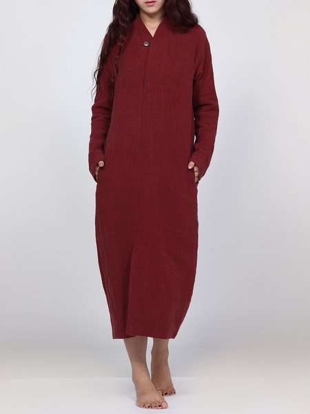 Red Casual Solid Maxi Dress With Pockets