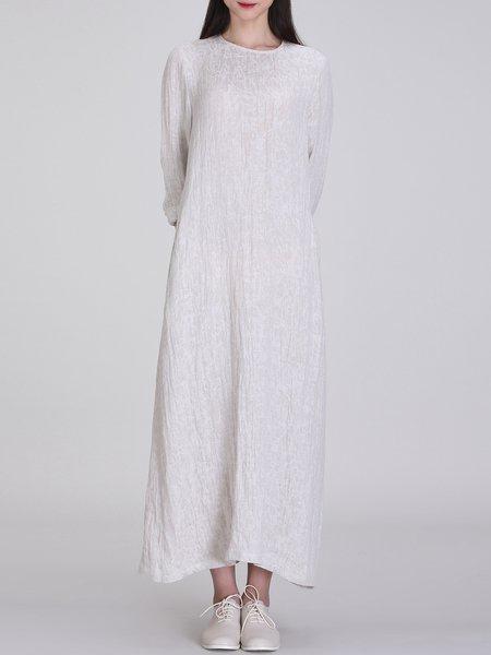 Light Gray Crew Neck Linen Slit Maxi Dress