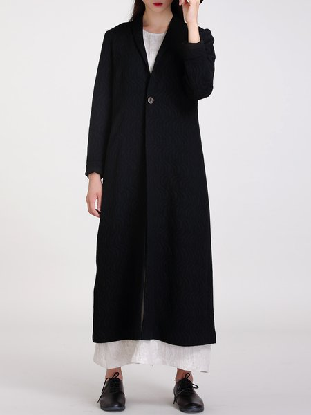 Black Slit Long Sleeve Lapel H-line Coat