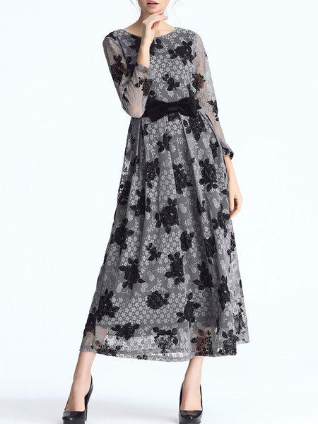 Floral Elegant Swing Bow Maxi Dress