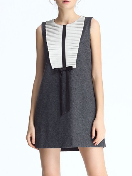 A-line Crew Neck Wool Blend Casual Sleeveless Mini Dress