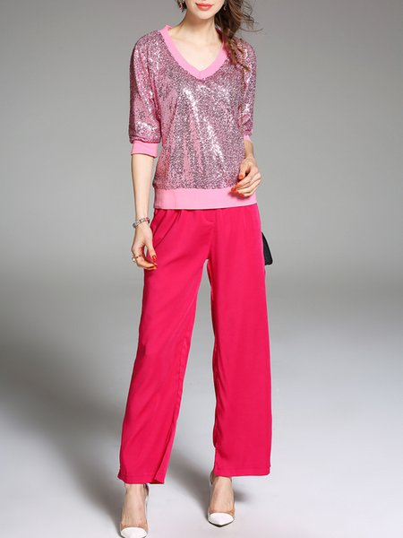Pink Two Piece Appliqued Casual V Neck Cotton-blend Jumpsuit