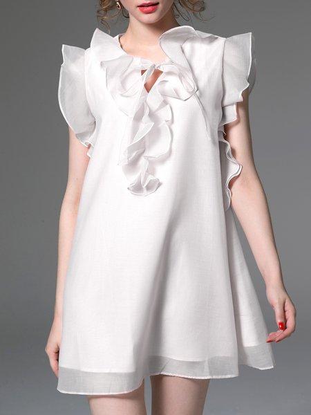 White Ruffled Crew Neck Frill Sleeve Organza Mini Dress
