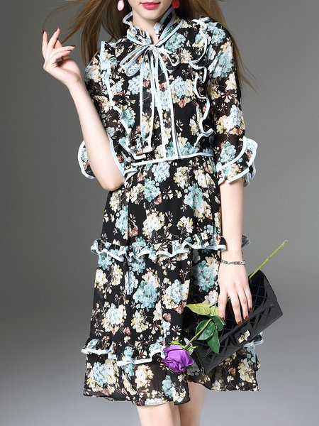 Blue Frill Sleeve Vintage Floral-print Ruffled Swing Mini Dress
