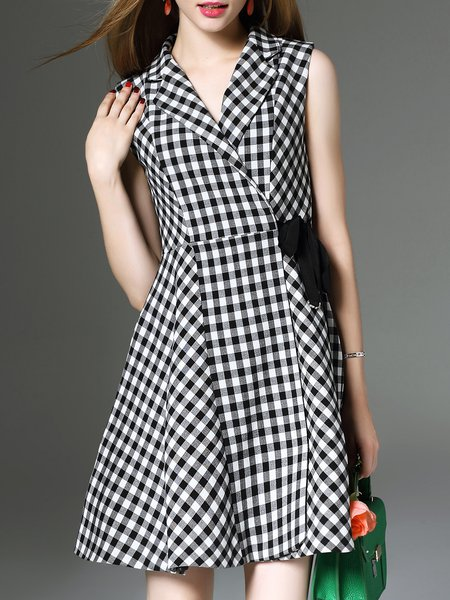 Lapel Elegant Checkered/Plaid Sleeveless Midi Dress