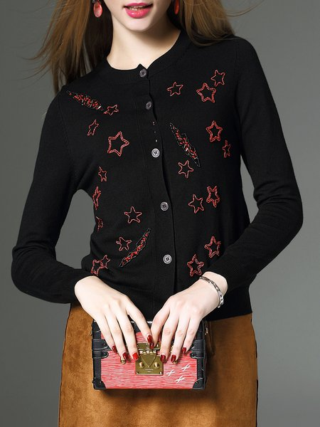Black Wool Beaded Casual Knitted Cardigan