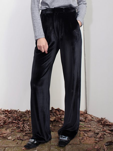 Black Solid Casual Wide Leg Pants with Pockets