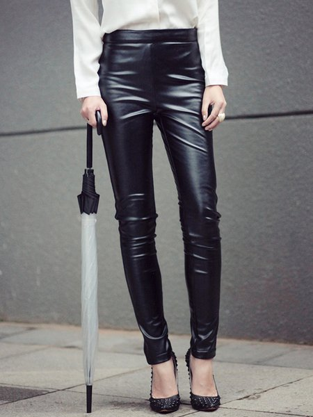 Black Plain Casual Polyester Zipper Skinny Leg Pants