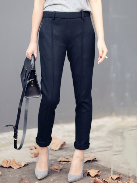 Black Wool Plain Casual Straight Leg Pants