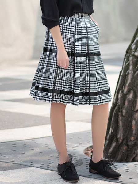 Black A-line Casual Pockets Midi Skirt