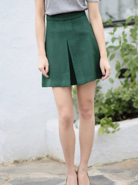 Dark Green Slit Casual Wool Mini Skirt