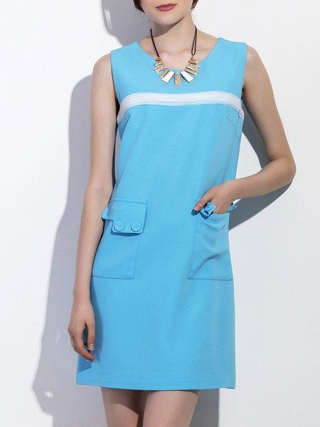 Sleeveless H-line Casual Crew Neck Midi Dress