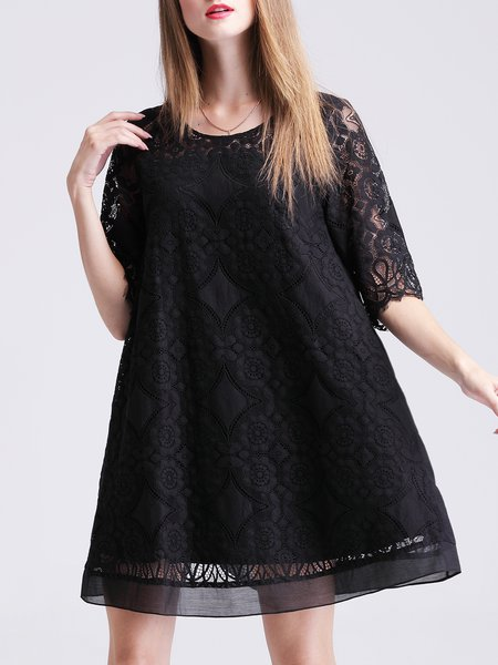 Black Casual A-line Guipure Midi Dress