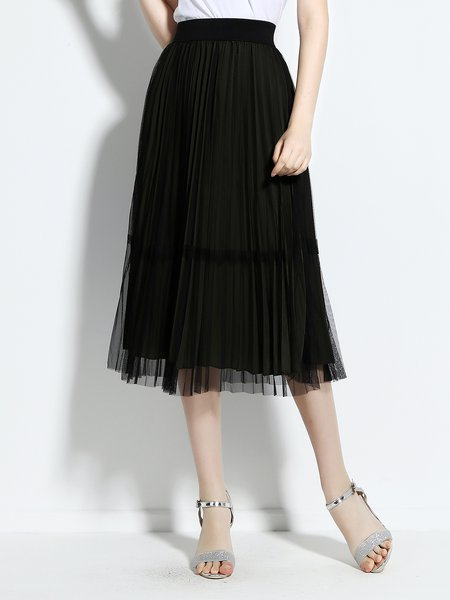 Mesh Casual Polyester A-line Midi Skirt