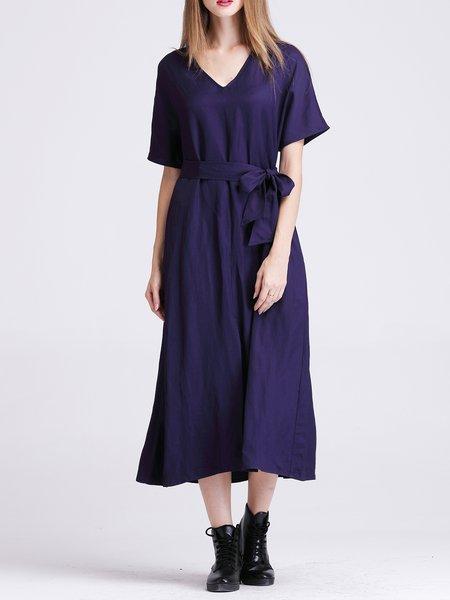 Polyester Casual V Neck Short Sleeve Midi Dress