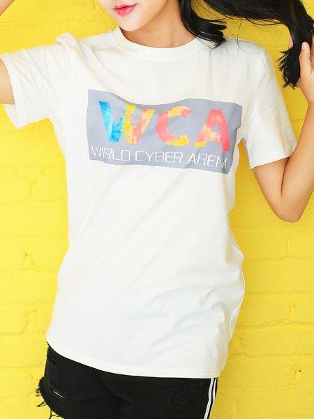 White Crew Neck Casual Letter Cotton T-Shirt