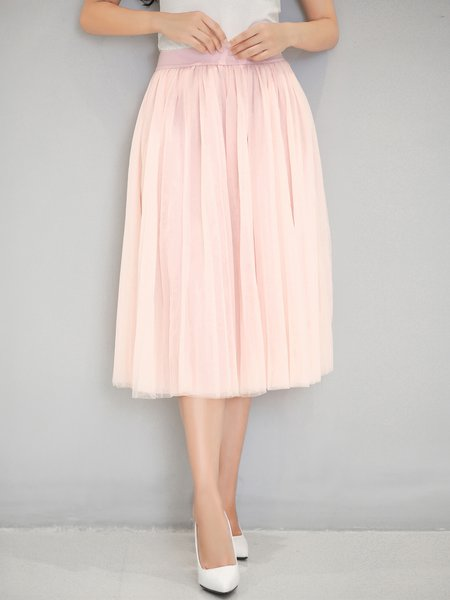 Casual A-line Mesh Polyester Midi Skirt
