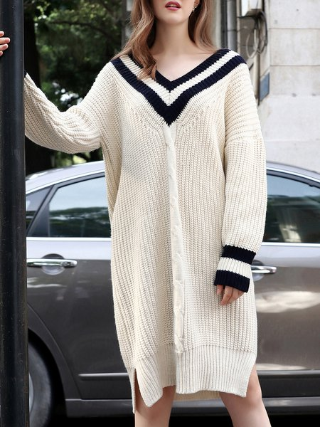 White Knitted Casual Wool Blend Midi Dress