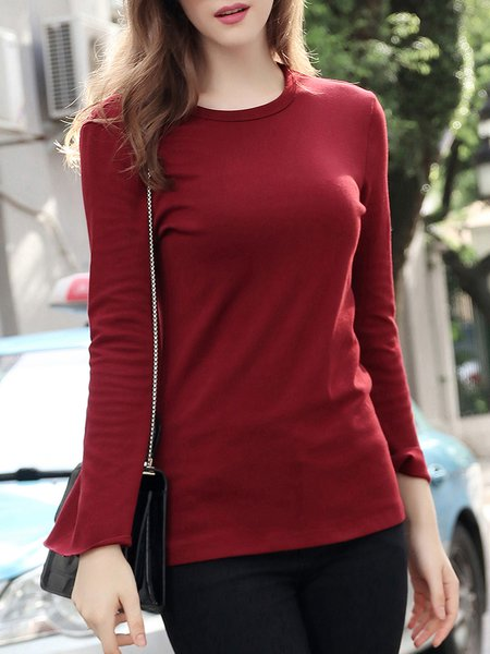 Red Crew Neck Casual Cotton Solid T-Shirt