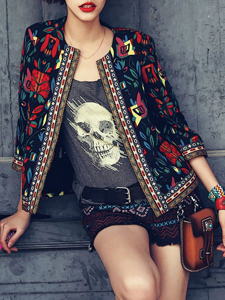 Black Abstract 3/4 Sleeve Polyester Embroidered Cropped Jacket