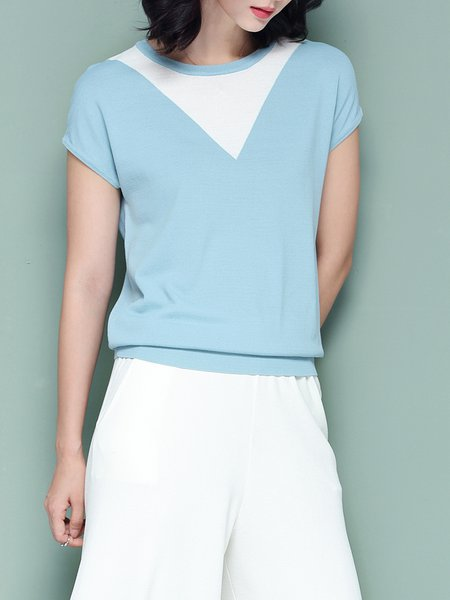 Knitted Crew Neck Shorts Sleeve T-Shirt