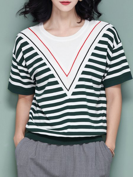 Knitted Casual Stripes T-Shirt