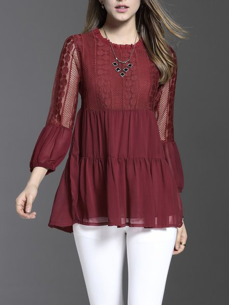 Ruffled A-line Balloon Sleeve Guipure Lace Girly Tunic