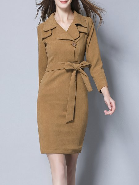 Brown Lapel Long Sleeve Sheath Midi Dress